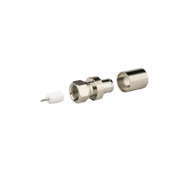 F-Stecker, crimpbar, Außenmantel 12,0mm lose